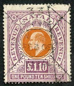 Natal SG143 1 pound 10/- wmk Mult CA Fiscal Cancel Cat 4750 if Postal used