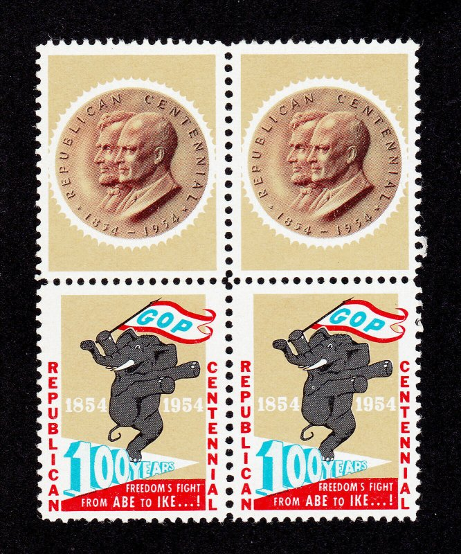 POSTER STAMP GOP 100 YEARS REPUBLICAN CENTENNIAL ABE TO IKE 1954 MNH-OG