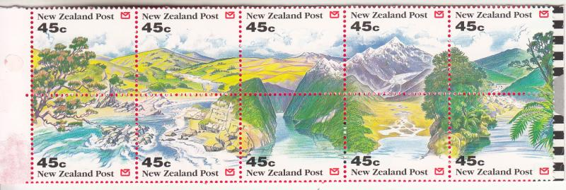 New Zealand 1992 MNH Scott #1125a Pane of 10 45c Panoramic view of NZ