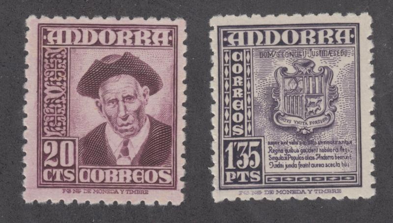 Andorra, Spanish Sc 40,47 MNH. 1948 Definitives, 2 different