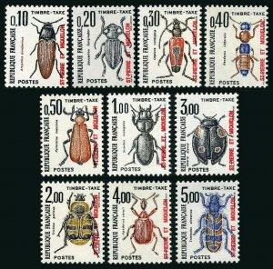 St Pierre & Miquelon J83-J92, MNH. Due stamps. Beetles, 1986