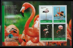 Uganda Scott 2112 MNH! Flamingos! Sheet of 4!