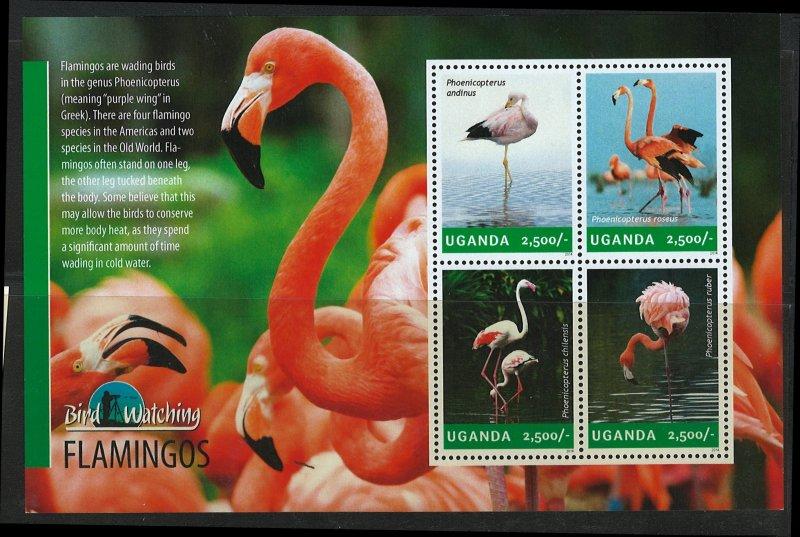 Uganda Scott 2112 MNH! Flamingos! Sheet of 4!