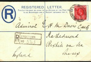 SIERRA LEONE WW1 Cover Freetown Registered GB Sussex Address. ADMIRAL 1914 SA.11