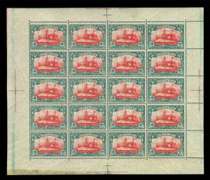 German Colonies - KIAUCHAU 1905 Kaiser's YACHT $2½ dollars Sc# 42 MNH FULL SHEET