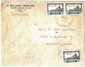 69258 - DOMINICANA - POSTAL HISTORY -  REGISTERED COVER  to  SPAIN  1932