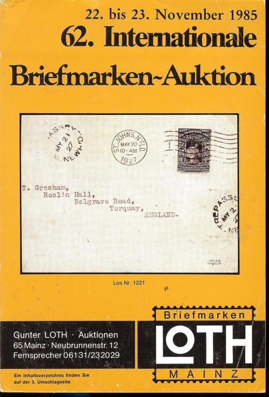 62. Loth-Briefmarken-Auktion: Internationale Briefmarkena...