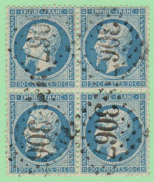 FRA SC #26 U B4 1862 Emp.Napoleon III w/nibbed/short perfs @ R CV $110.00
