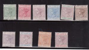 St Lucia #27a - #37a VF Mint Set