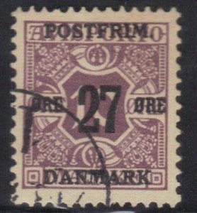 DENMARK SCOTT# 141 USED 27o ON 10o 1918 NEWSPAPER STAMP    SEE SCAN