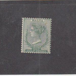 MALTA (MK6580) # 8  VF-MH  1/2p 1885 QUEEN VICTORIA / GREEN