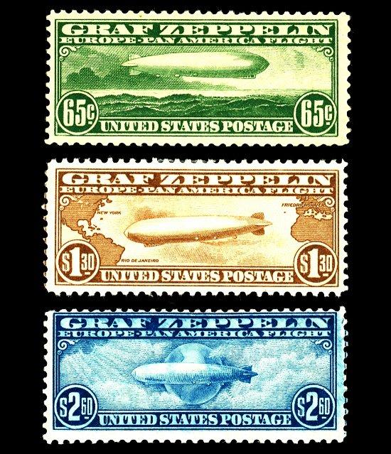U.S. #C13-C15 Zeppelins OG H