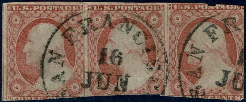#11 STRIP OF 3 1851 3c DULL RED TYPE I REGULAR ISSUE USED-SAN FRANCISCO CANCEL