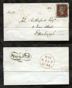 1844 Great Britain Sg 11 Cover Lake Red Shade Excellent Condition