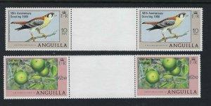 1980 Anguilla Boy Scout 50th anniv overprint birds gutter pairs