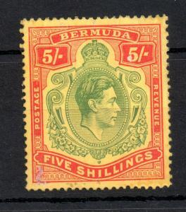 Bermuda KGVI 5/- SG118 'Key Plate' P14 mint CV £150 VLHM WS13470