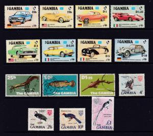 Gambia a MH set (cars) & a few used singles