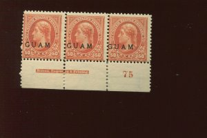Guam  11 Overprint Mint Plate Strip # of 3 Stamps (Stock By 714)