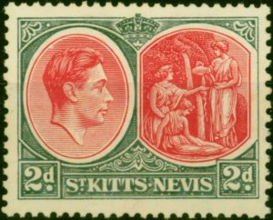 St Kitts & Nevis 1941 2d Scarlet & Grey SG71a Chalk Fine Mtd Mint