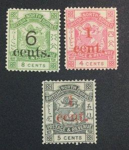 MOMEN: NORTH BORNEO SG #55,63-64 1892 UNUSED £63 LOT #6940