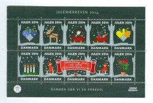 Denmark. Christmas Mini Sheet 2014 Mnh. Santa,Sled,Rein Deer,Tree,Candle