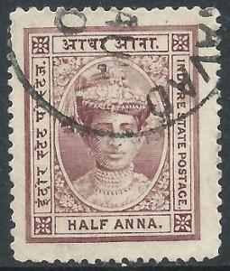 India - Indore, Sc #9, 1/2a Used