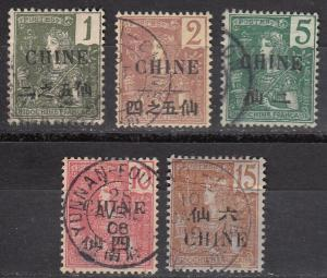 France Off China 5 Diff Used F/VF 1904-5 SCV $12.45