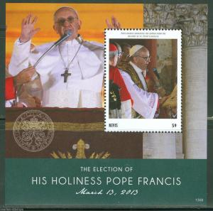 NEVIS 2013  THE ELECTION OF POPE FRANCIS SOUVENIR SHEET MINT NEVER HINGED