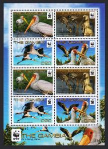 Gambia Birds WWF Yellow-billed Stork Sheetlet of 2
