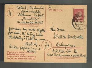 1945 Stettin Germany Arbeitslager Slave Labor Camp Postcard Cover to Poland