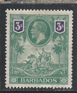 BARBADOS 1912-16 3s GREEN & VIOLET MM SG 180 CAT £120