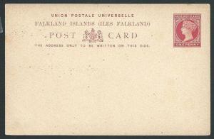 FALKLAND IS QV 1d postcard fine unused.....................................45689