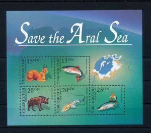 [40556] Uzbekistan 1996  Save Aral sea Hyena Fish Lynx Joint issue MNH Sheet