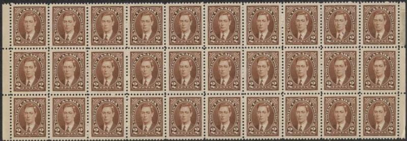 Canada Scott #232 x 100 Mint 2c Brown 1937 - F-VF NH Inc. Blocks