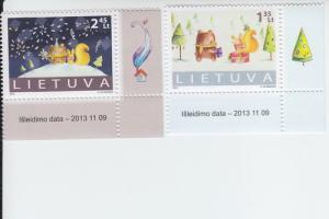 2013 Lithuania  Christmas 2013 New Year 2014 (Scott 1013-14) MNH