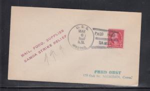 Cover U.S.S. Arctic Pago Pago Samoa 1937 Samoa Strike Relief Handstamp