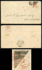 PRINCE EDWARD Is SG16b 1862 4d black perf 11.5-12 BISECTED on Cover RED CANCEL