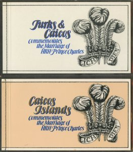 TURKS & CAICOS Sc#490 and CAICOS Sc#12 1981 Royal Wedding BKS OG Mint NH