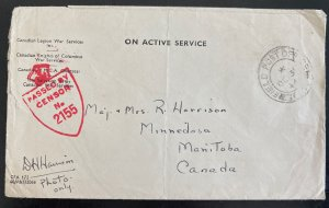 1944 Canadian Army Overseas Field Post Cover To Manitoba Canada D Harrison