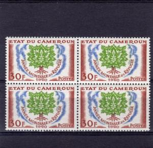 Cameroun 1960 Sc#338  WRY Uprooted Oak Block of 4 MNH VF