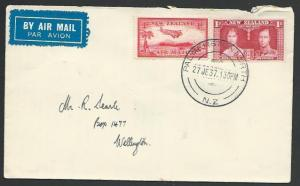 NEW ZEALAND 1937 first flight cover Palmerston North - Wellington..........56795