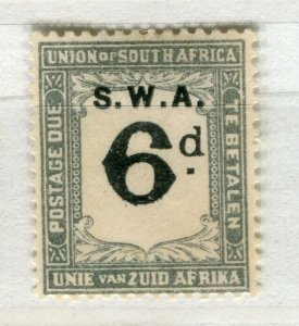 SOUTH WEST AFRICA; 1923 early Postage Due issue Mint hinged 6d. value