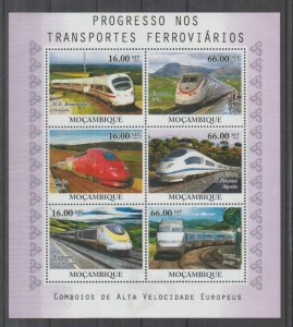 Mozambique MNH S/S Modern Trains Of Europe 2010