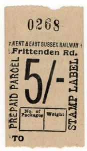 (I.B) Kent & East Sussex Railway : Prepaid Parcel 5/- (Frittenden Road)