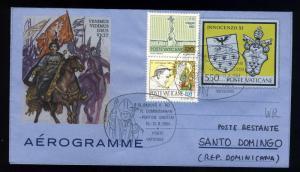 VATICAN 1984 Voyage du Pape Jean-Paul II à St Domingue / Sto Domingo -Air Letter