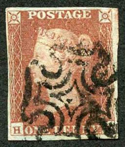 1841 Penny Red Maltese Cross Cancel Fine Four Margins
