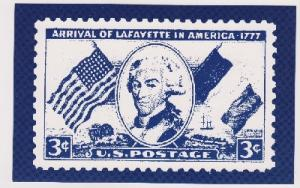 Post Card featuring Lafayette stamp Scott 1010 (mint condition)