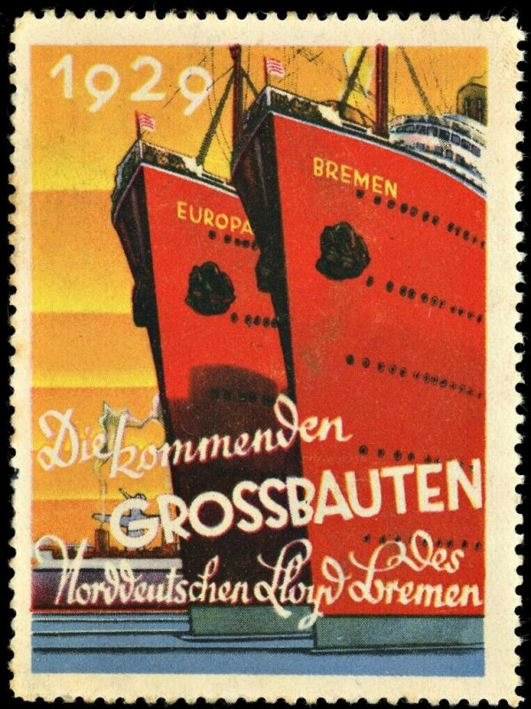 1929 Bremen and Europa Ship Advertisement Stamp North German Lloyd