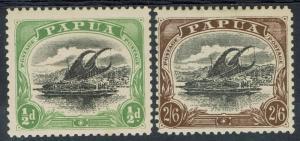 PAPUA 1907 LAKATOI LARGE PAPUA SET 1/2D AND 2/6  PERF 11