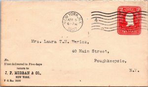1907 JP Morgan advertising 2¢ postal stationery cover NYC > Poughkeepsie NY